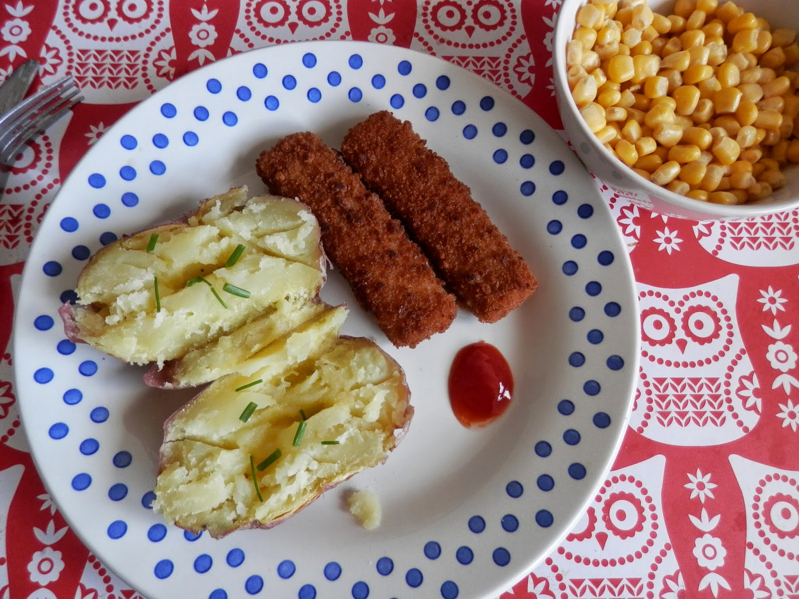 What do vegans eat? VBites Fish-Free Fish Fingers, with a baked potato and sweetcorn.