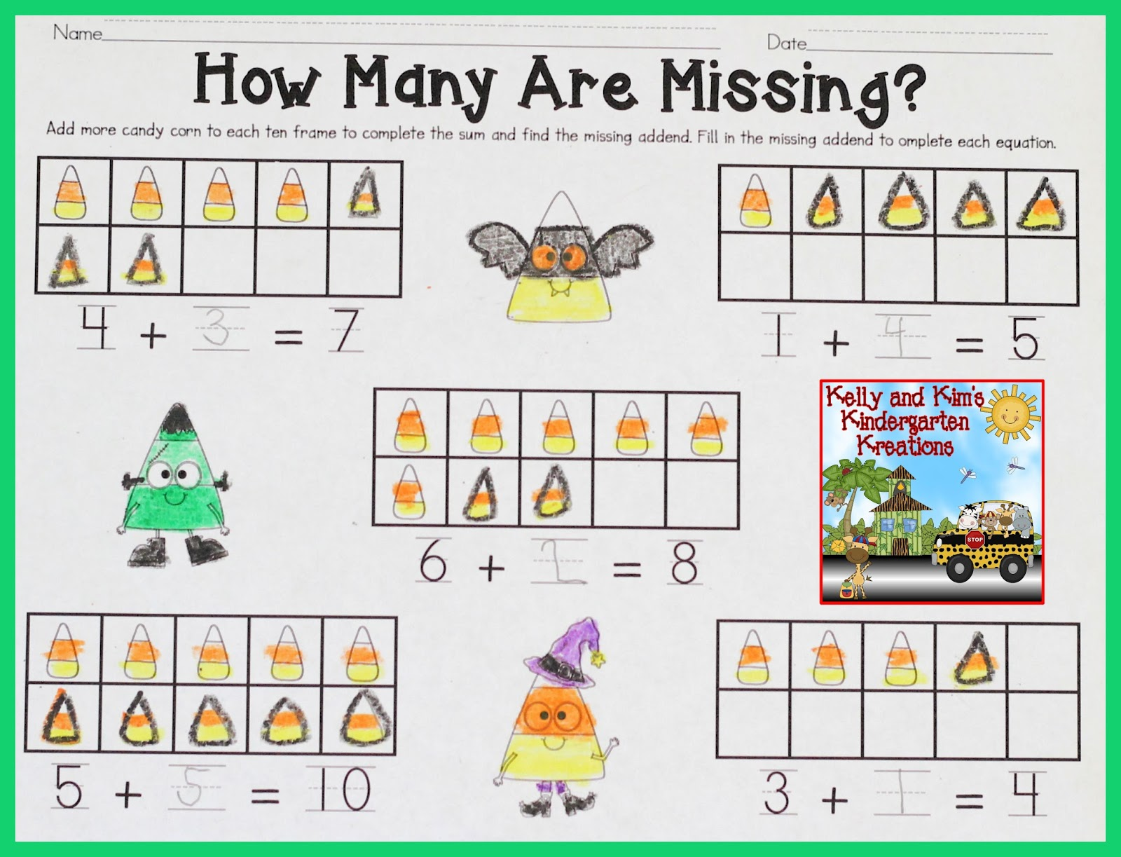 worksheet Missing Addend missing addend multiplication practice pages kelly and kims kindergarten kreations markdown monday linky img 4806 party october 22html addend