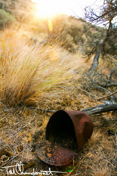 Tim Chandonnet Photography - Rusty tin can in the scrub lands at sunrise along the Vantage Highway in Central Washington