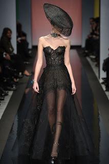Vanessa Lekpa haute couture romantique Gattinoni dentelle noire de calais
