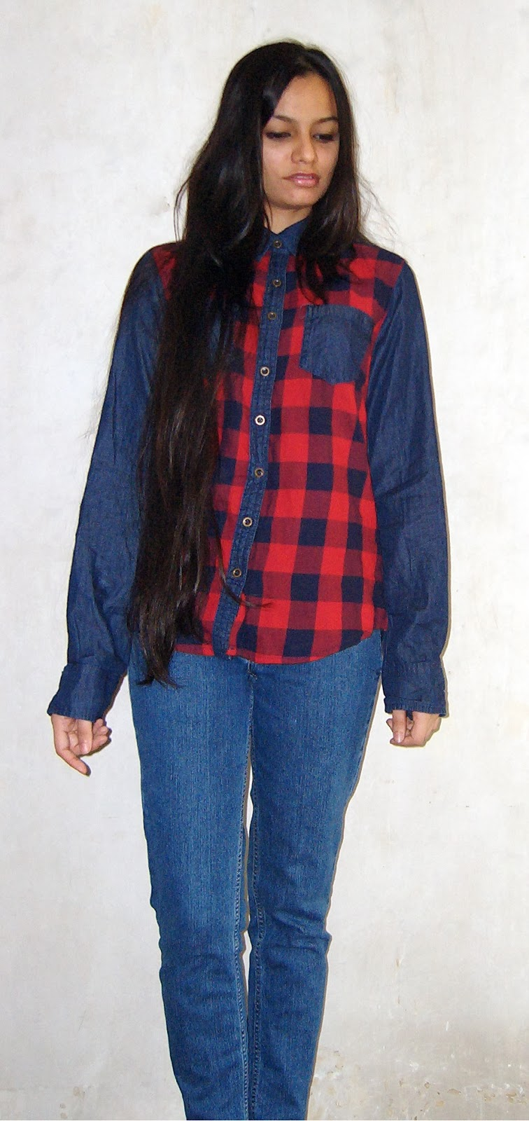 denim shirt, how to wear a denim shirt, tartan shirt, how to wear denim and tartan, long hair, indian fashion blogger