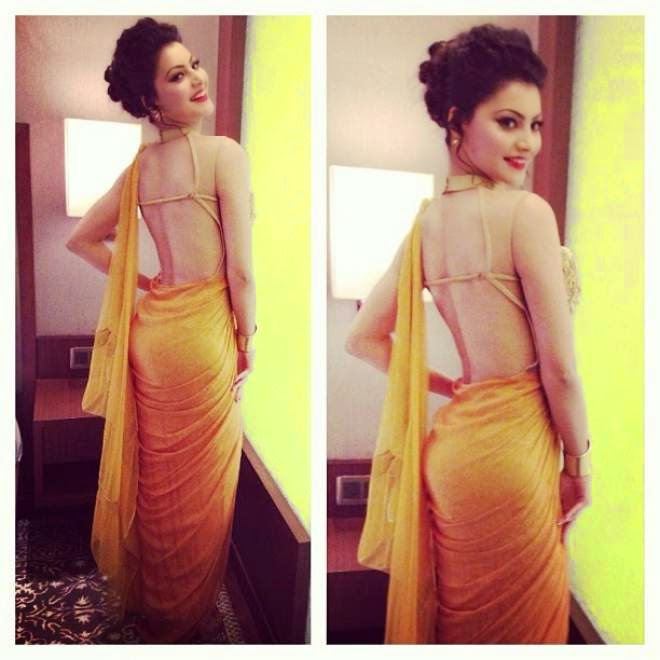 urvashi rautela hot backless photos in backless saree