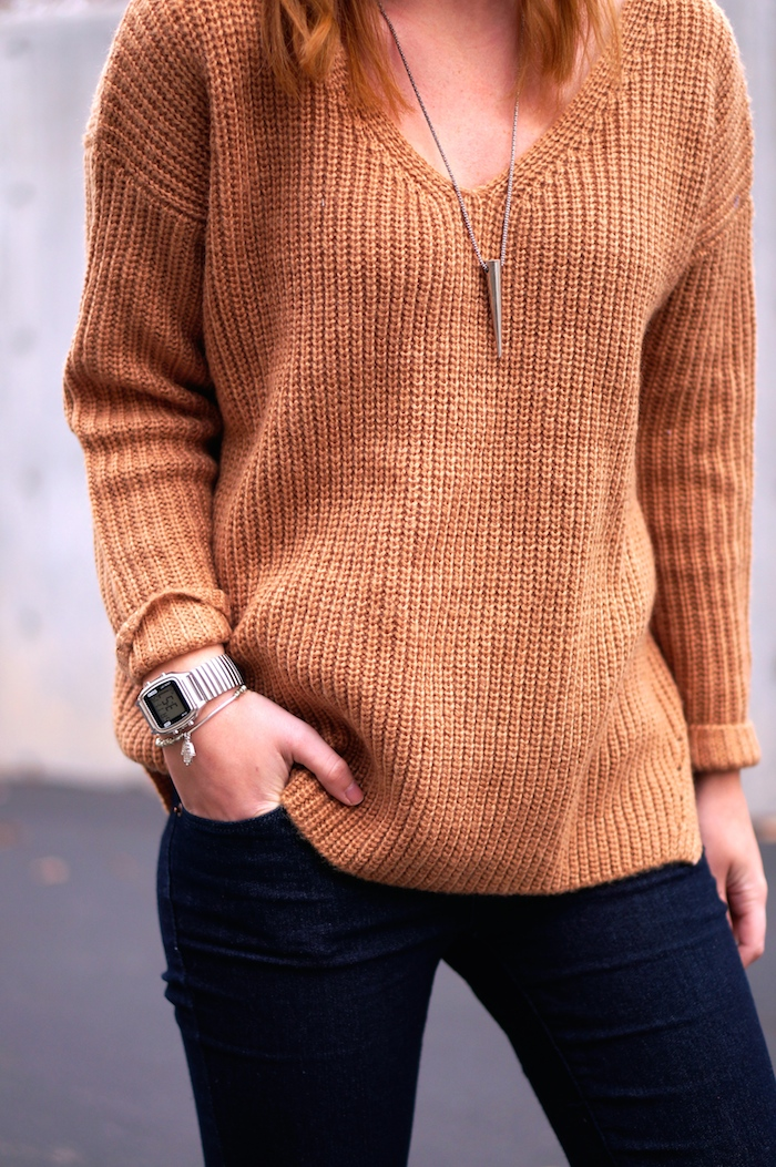 camel sweater, oasap