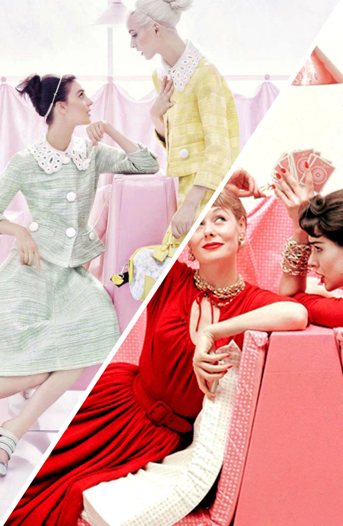 via fashioned by love | fashion editorials inspired by the past fashion editorials | Louis Vuitton 2012 | Vogue 1954