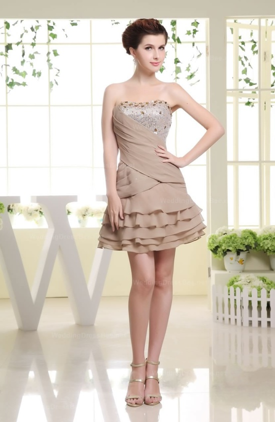 Strapless sequined ruched top tiered short chiffon dress for summers