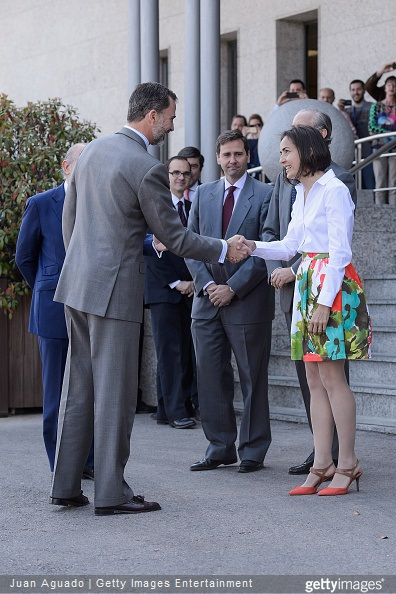 King Felipe VI of Spain and Directorate General of Traffic Director Maria Segui visit the Directorate General of Traffic