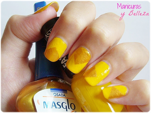 reto colores colours challenge uñas amarillas doradas yellow nails geometric triangles nail art manicura fácil manicure easy