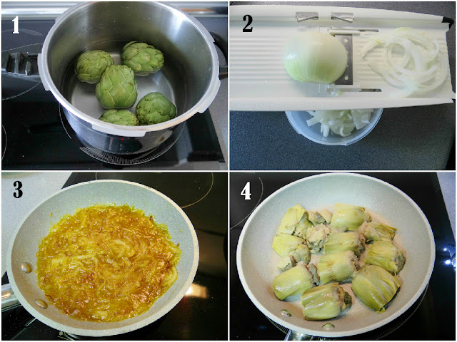 Elaboración de alcachofas a la plancha con cebolla caramelizada