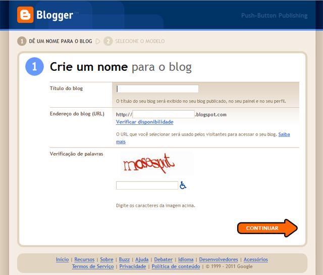 Como fazer um blogspot tela inicial