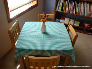 Chicken scratch table cloth.