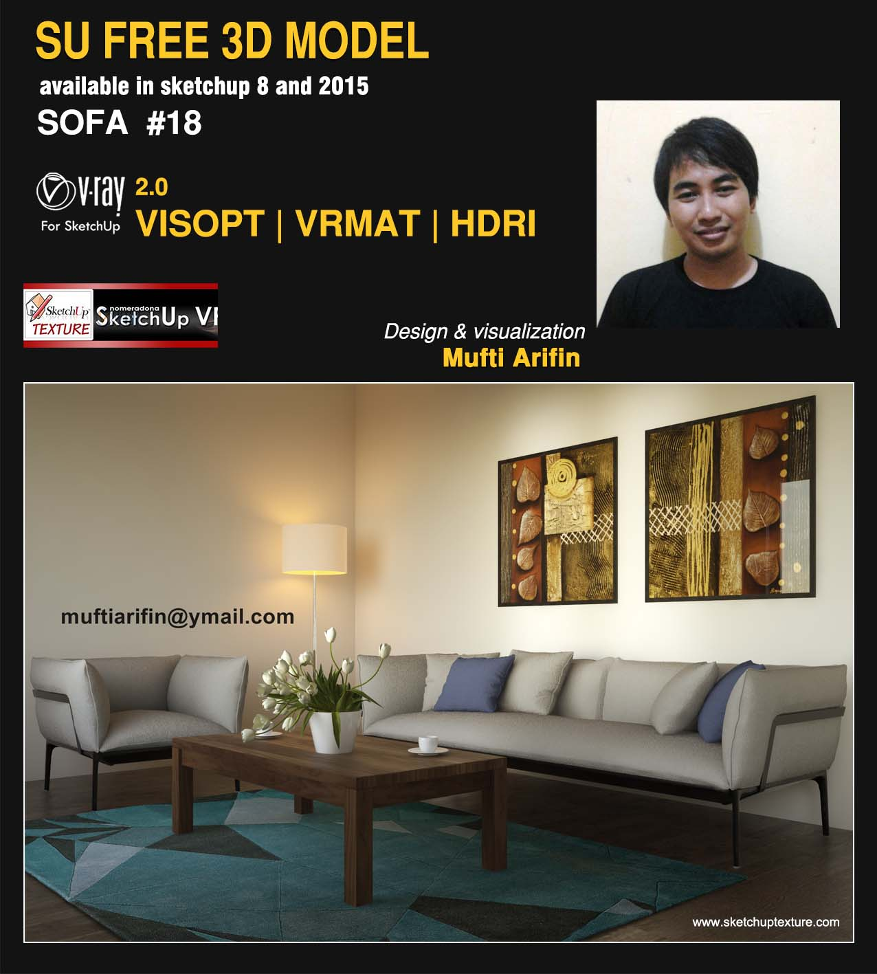 free sketchup model sofa #18 vray 2.0 Visopt interior