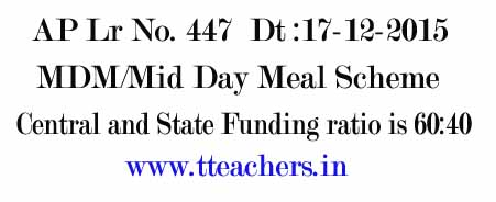 AP Mid Day Meal Central and AP State Funding Ratio 60:40