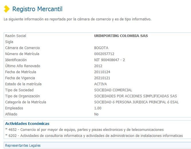 Acá el registro mercantil de la supuesta empresa: