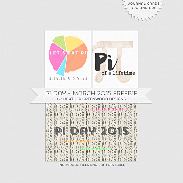 Pi Day 2015 - March 2015 Printable Journaling Card Freebie perfect for Project Life®, pocket scrapbooking, planner dashboard decorating