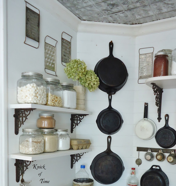 Farmhouse Kitchen Remodel Repurposed Antique Wood Box Crates Spice Rack Cast Iron Skillets via KnickofTimeInteriors.blogspot.com