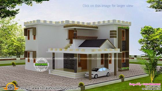 Flat roof decorative home