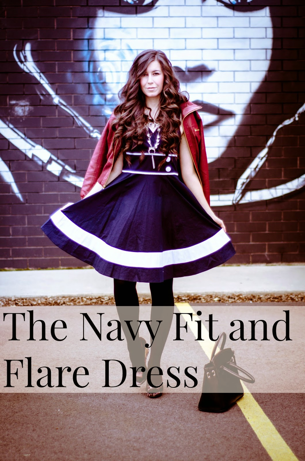a-line poplin dress, burgundy and navy outfit, burgundy jacket with a navy dress outfit, button dress, eshakti, eshakti dress, navy and white dress, navy dress with white stripes,