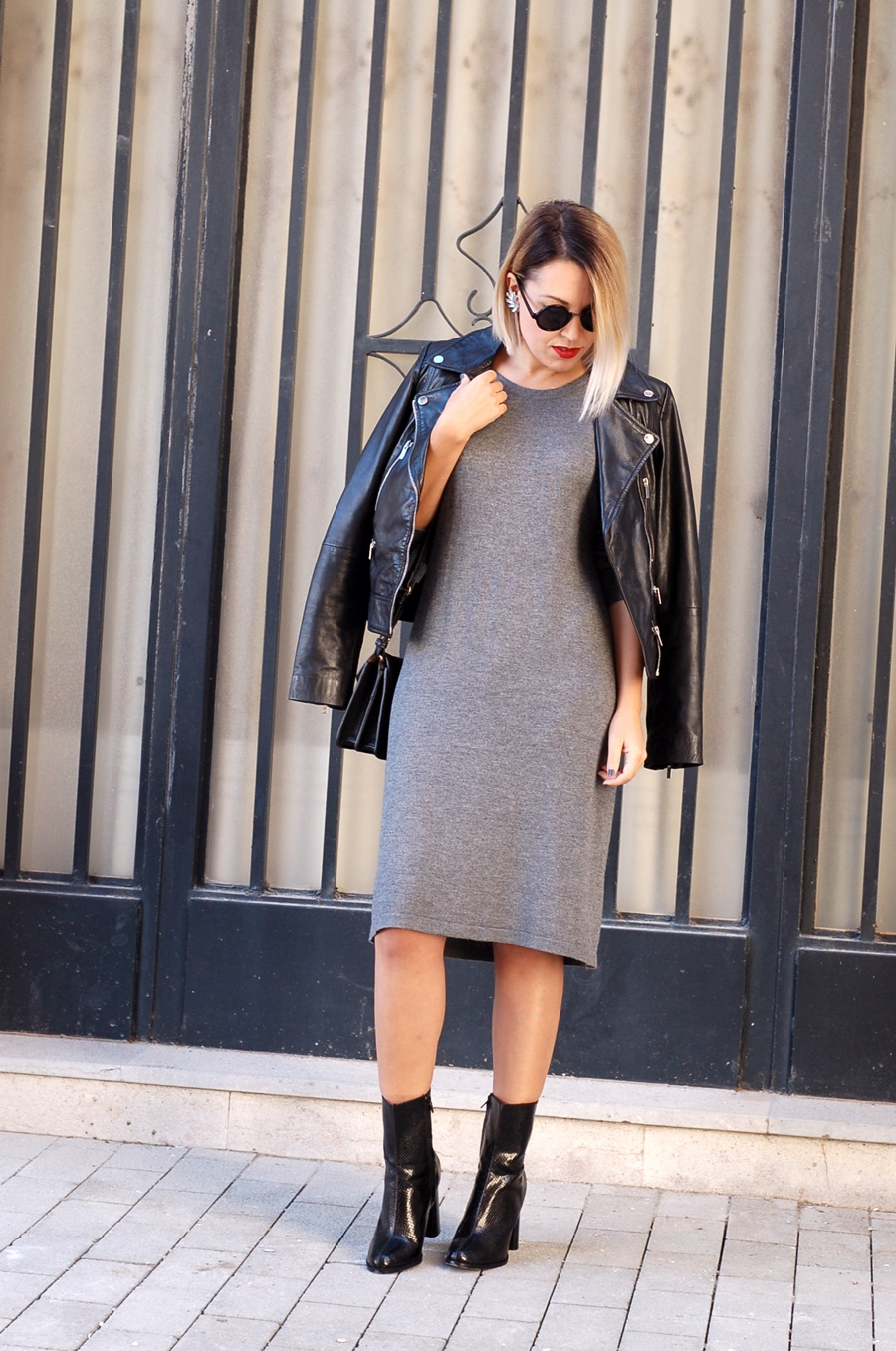 littledreamsbyr knit dress with biker and ankle boots earcuff