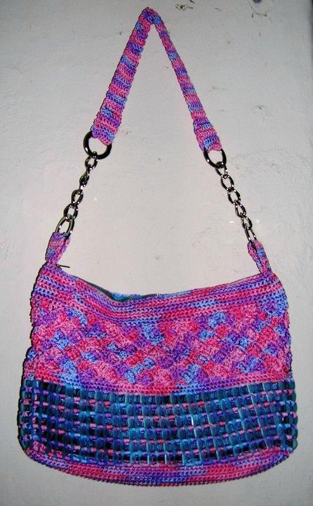 Mis labores en Crochet: Bolsa tejida crochet con fichas reciclables