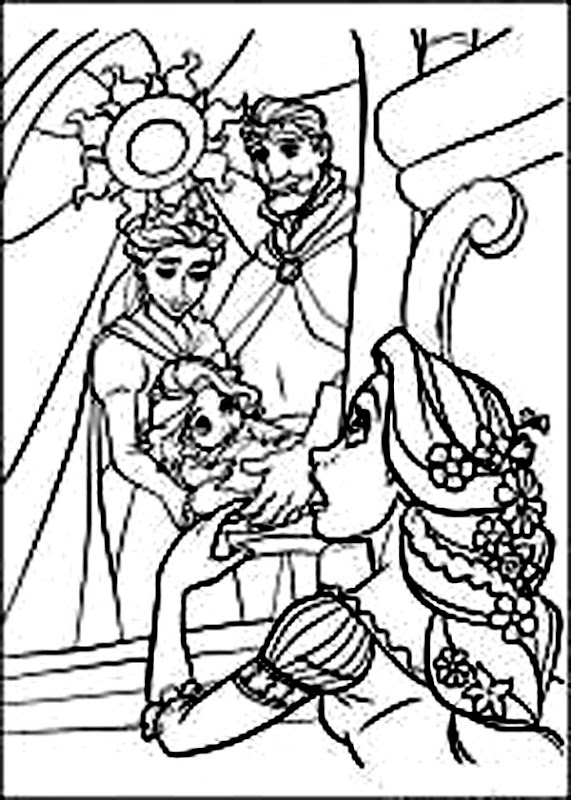 Princess Rapunzel and Family | Tangled Disney Coloring Pages title=