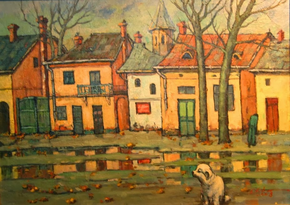 David Croitor Romanian Painter 1958 City Street