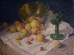 Albaricoques-(Óleo del pintor jiennense  Rufino Martos)
