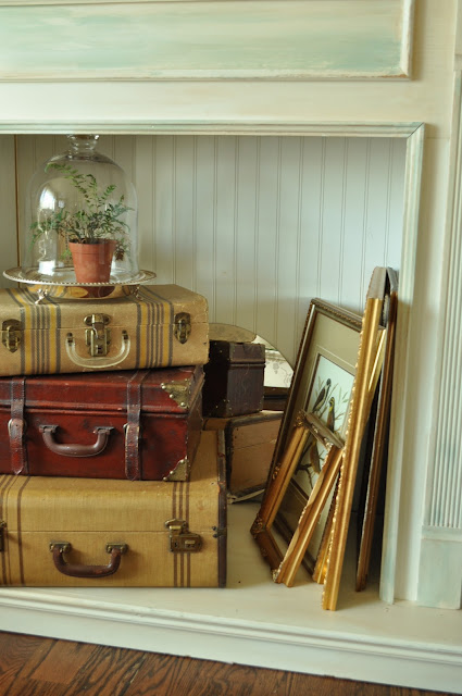Creating a vignette in your faux fireplace