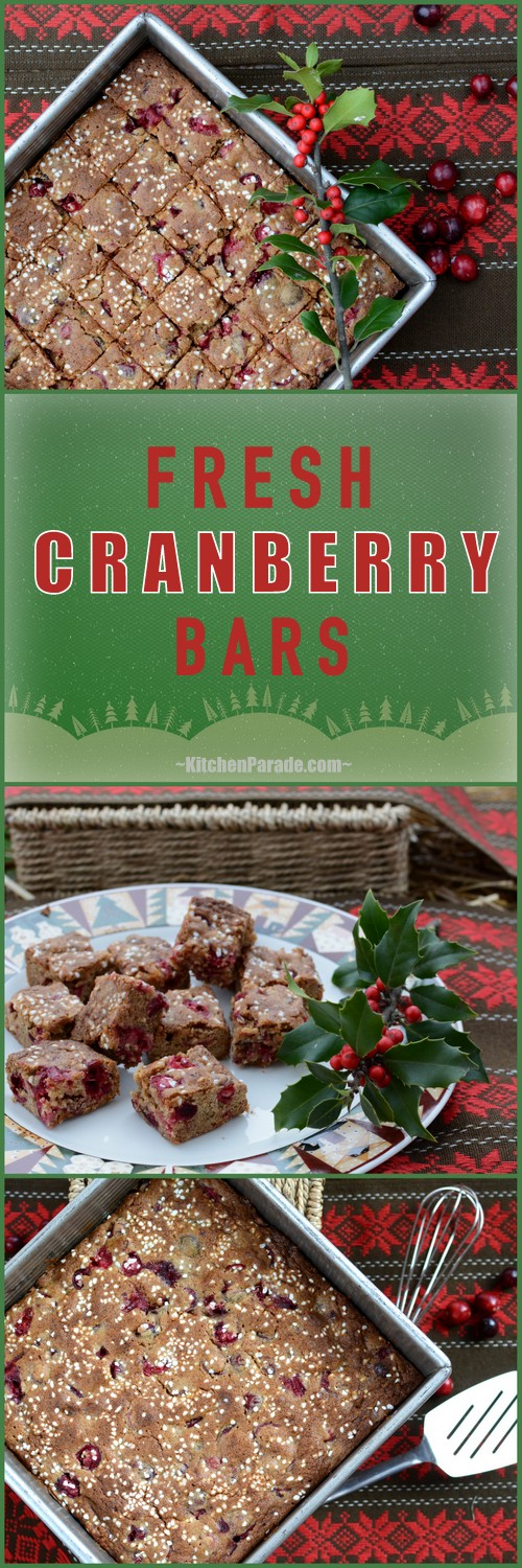Fresh Cranberry Bars ♥ KitchenParade.com, chewy molasses-spice bars with bursts of sour cranberry.