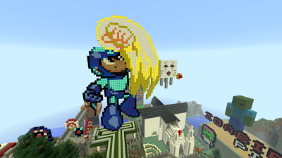Creative pixel art Megaman building ideas on fpsxgames server