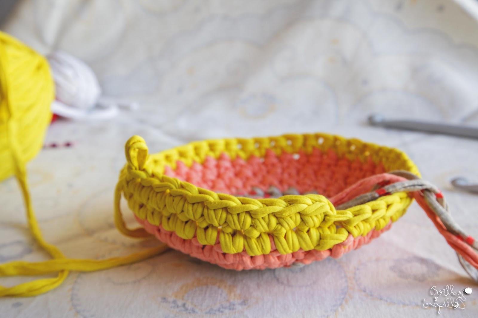 Ovillos y trapillo cesto trapillo paso a paso - Puntos crochet trapillo ...