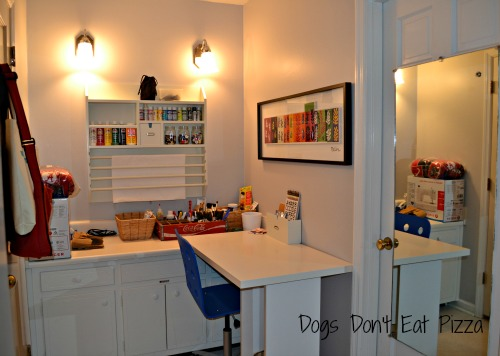 finished craft and work area