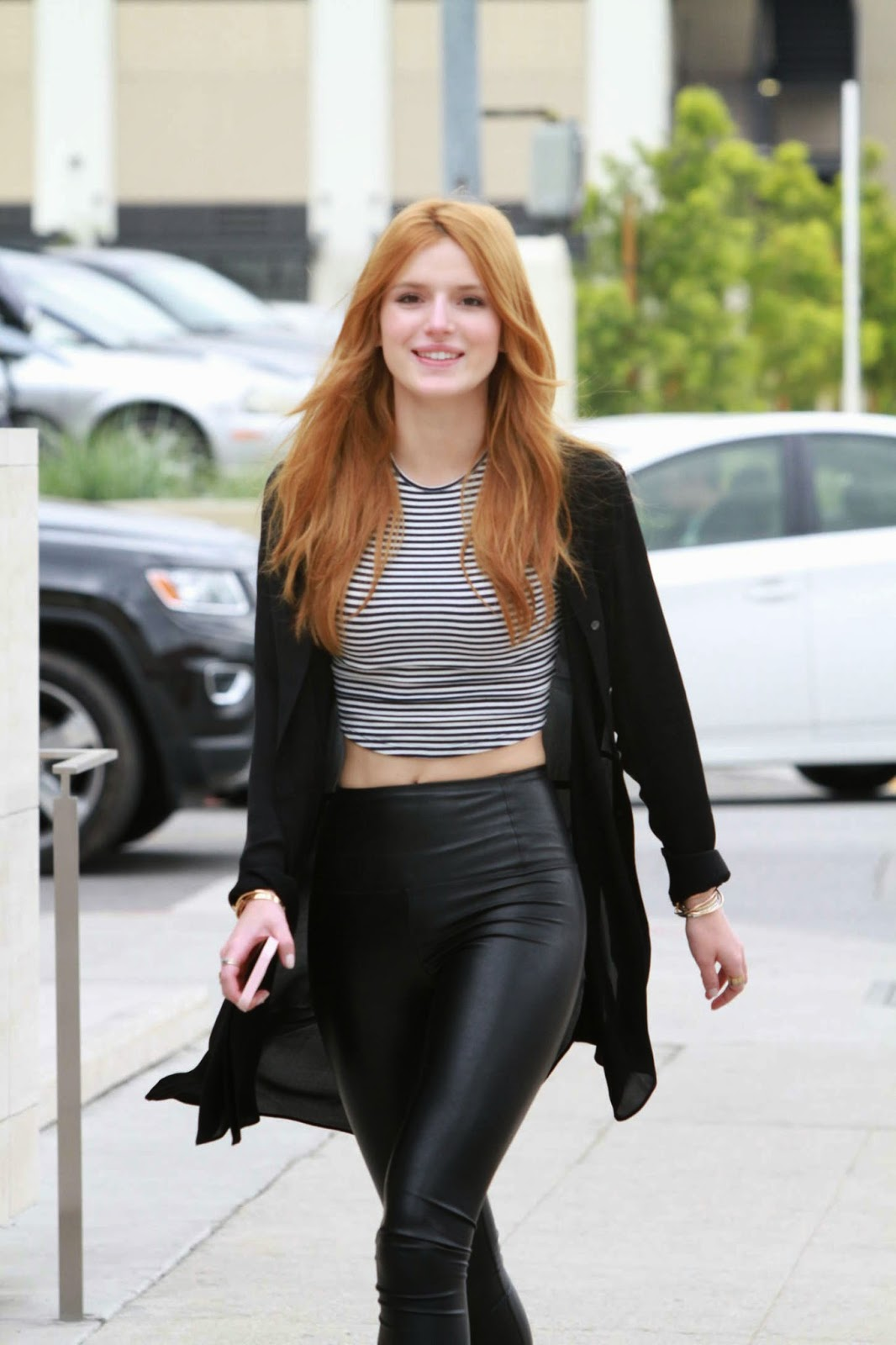Bella Thorne in cropped top and leather trousers out and about in Hollywood