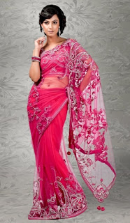 Pink-Net-Indian-Fashion-Saree