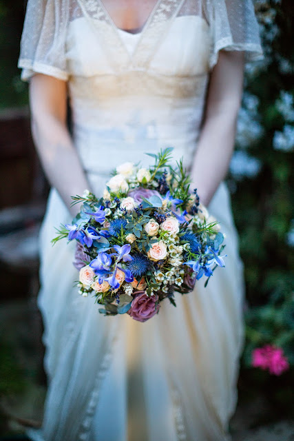 Rustic handmade wedding bouquet + peach roses and cornflowers