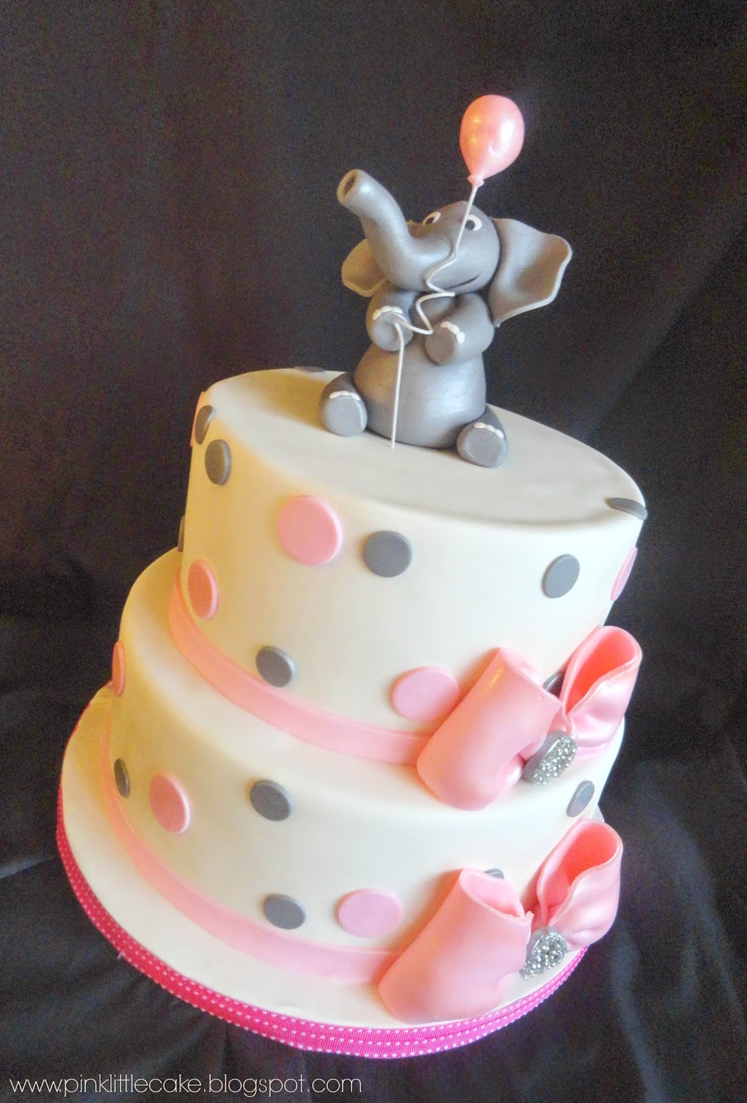 pink little cake elephant theme baby shower cake