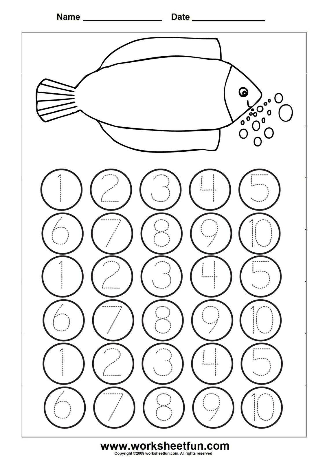 Number Worksheets For Kindergarten : Practice writing numbers worksheet number