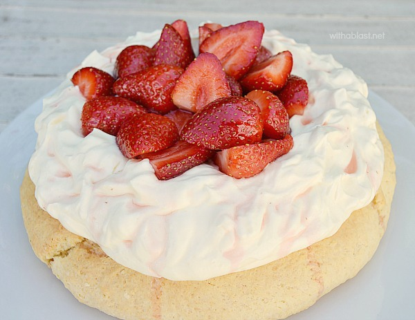 "Strawberry and Cream Scone Cake ~ Strawberries & Cream together are always popular and served on a huge scone ""cake"" it is delicious served as a tea time treat or at brunch and most definitely perfect for Valentines Day morning !"