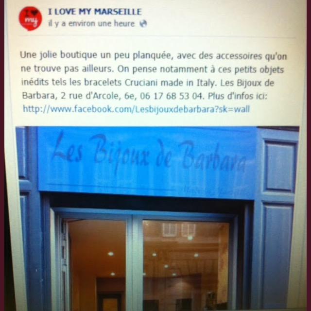 """Pub sur la page Facebook de """"I LOVE MY MARSEILLE"""""""