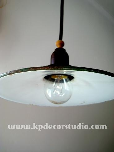 Kp tienda vintage online l mpara industrial vintage de techo verde vintage industrial - Lampara industrial vintage ...
