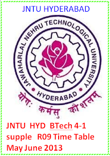 Jntu Hyderabad Btech 4-1 supple R09 Supple Time Table May June 2013