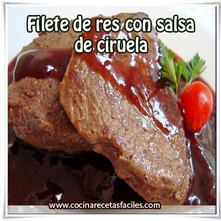 Recetas de carnes , receta de filetes de res con salsa de ciruela