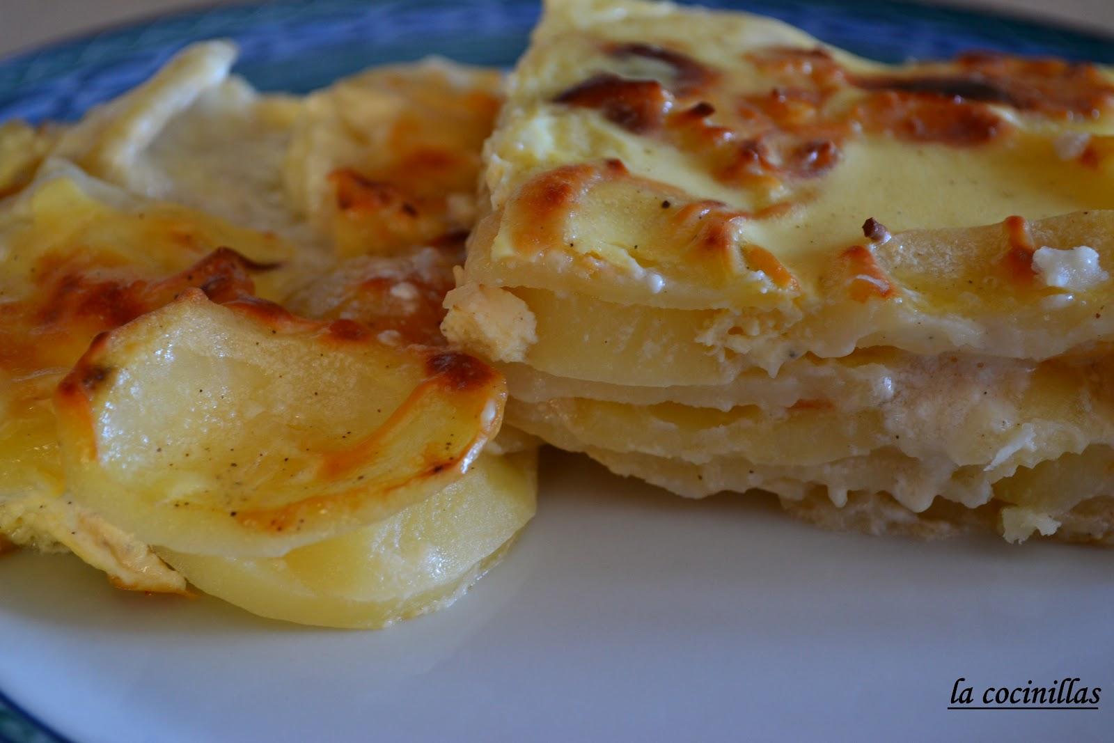 Patatas gratinadas con nata y queso la cocinillas - Gratinado de patata ...
