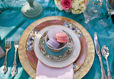 pink and turquoise table settings