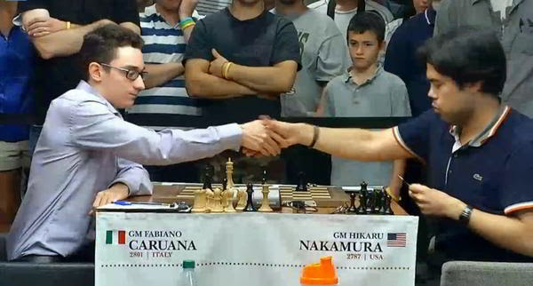 Fabiano Caruana contre Hikaru Nakamura - Photo ©  site officiel
