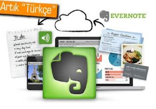 Evernote uygulamaları artık Türkçe.