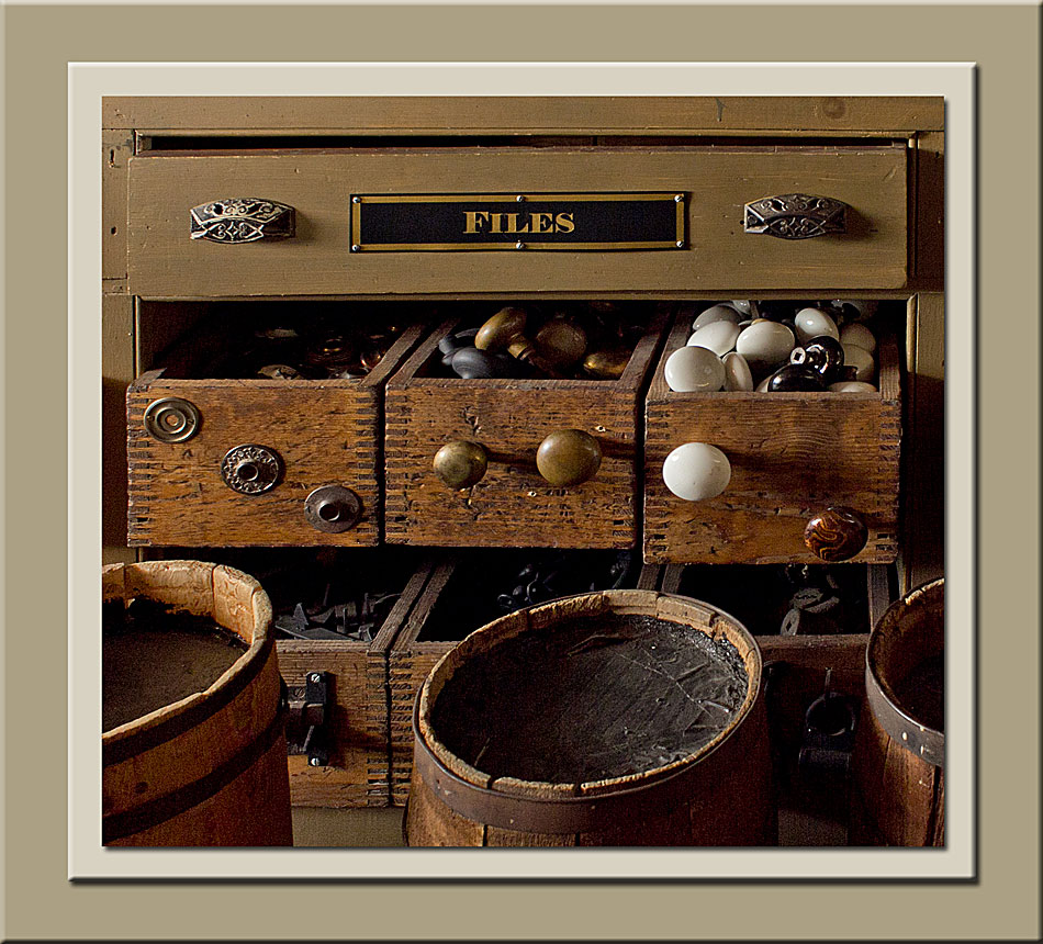 Drawers filled with hardware at Laskay Emporium at Black Creek Pioneer Village.  Holly Cawfield Photography