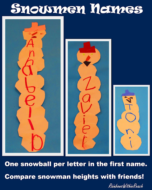 photo of: Snowmen: Snowballs of Letter Writing Names via RainbowsWithinReach