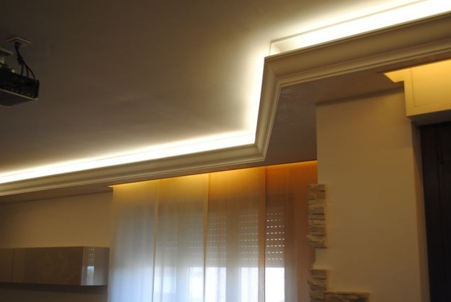 La luce indiretta o diffusa realizziamola con una cornice in