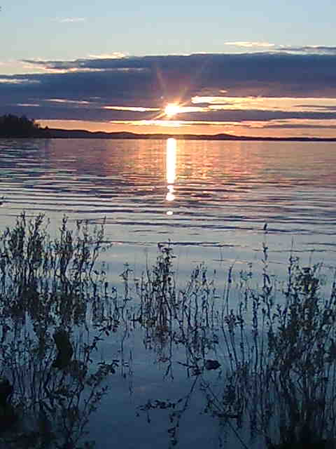 Lake in Lieksa Northern Karelia finland, midnight sun