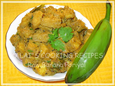Raw Banana / Vazhakkai / Raw Plantain Poriyal with Curd